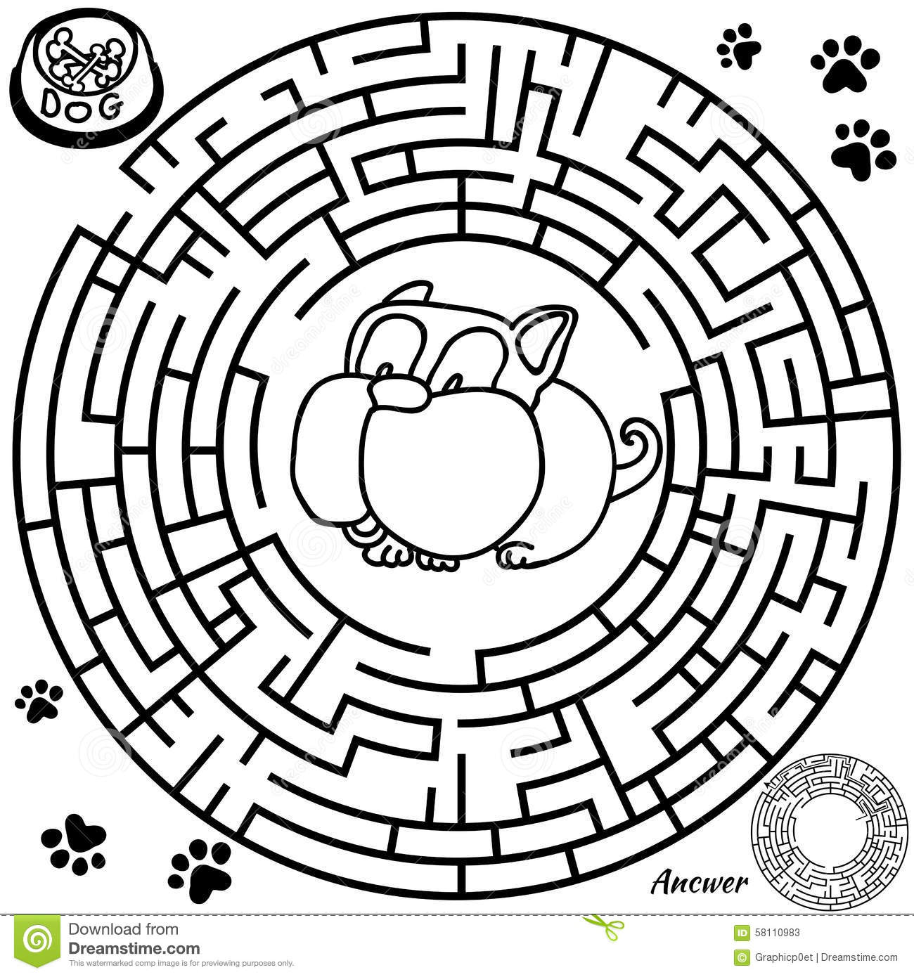 Maze Game For Kids Stock Vector Illustration Of Preschool