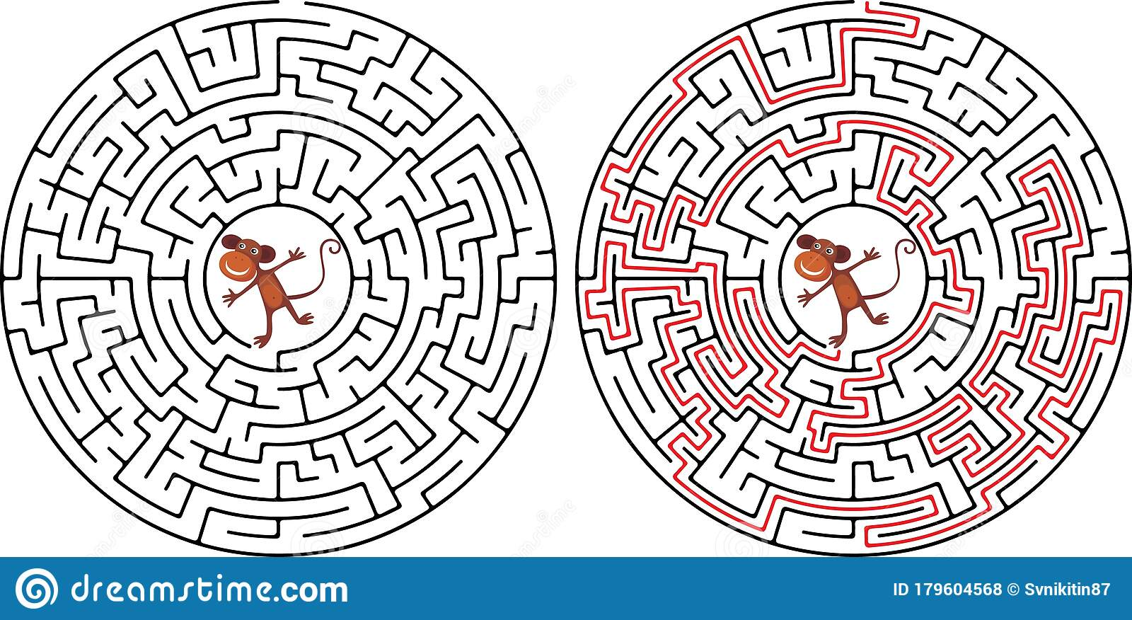 Maze Game For Kids Help The Monkeys To Get To The Coconut