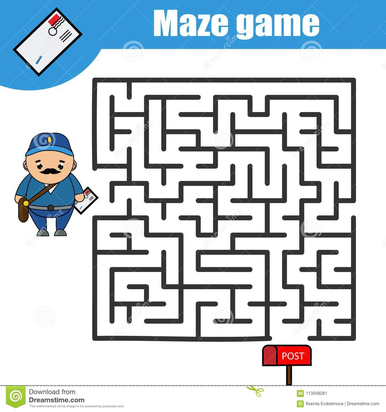 Maze Game Postman And Post Box Kids Activity Sheet