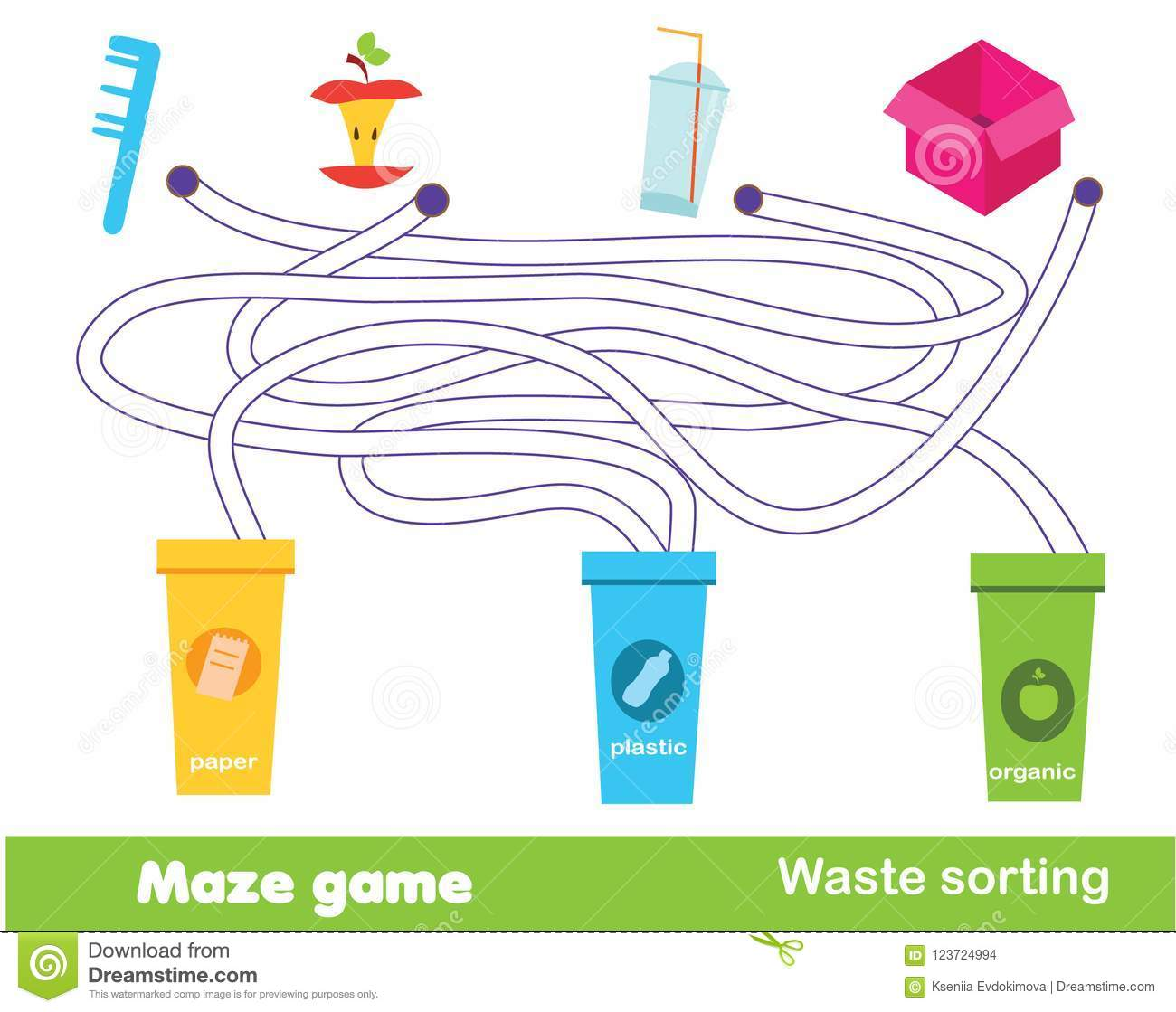 Maze Game Waste Sorting Put Trash Into Garbage Bins