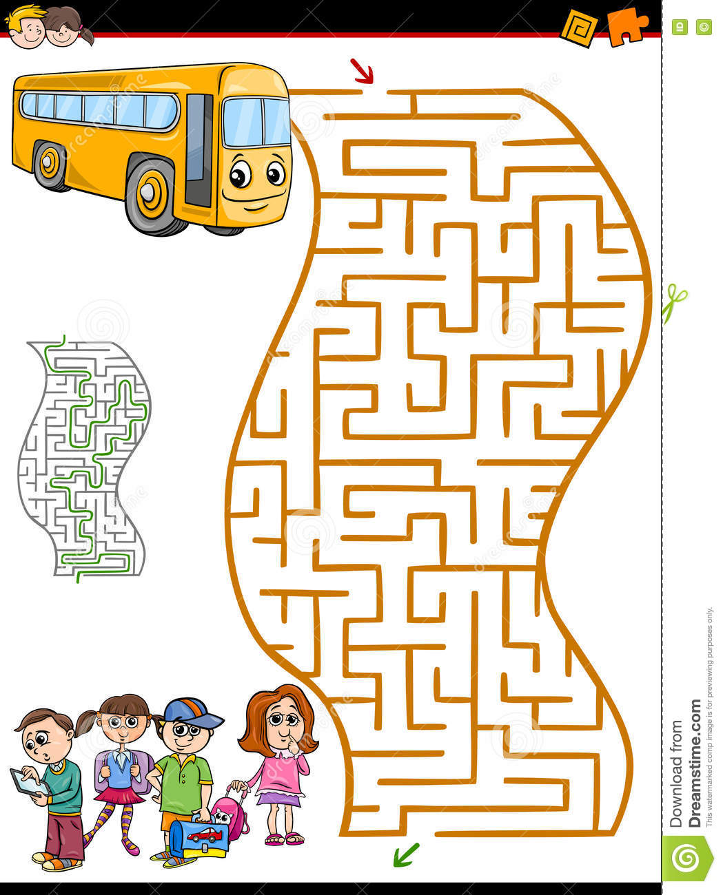 Maze Or Labyrinth Activity For Kids Stock Vector