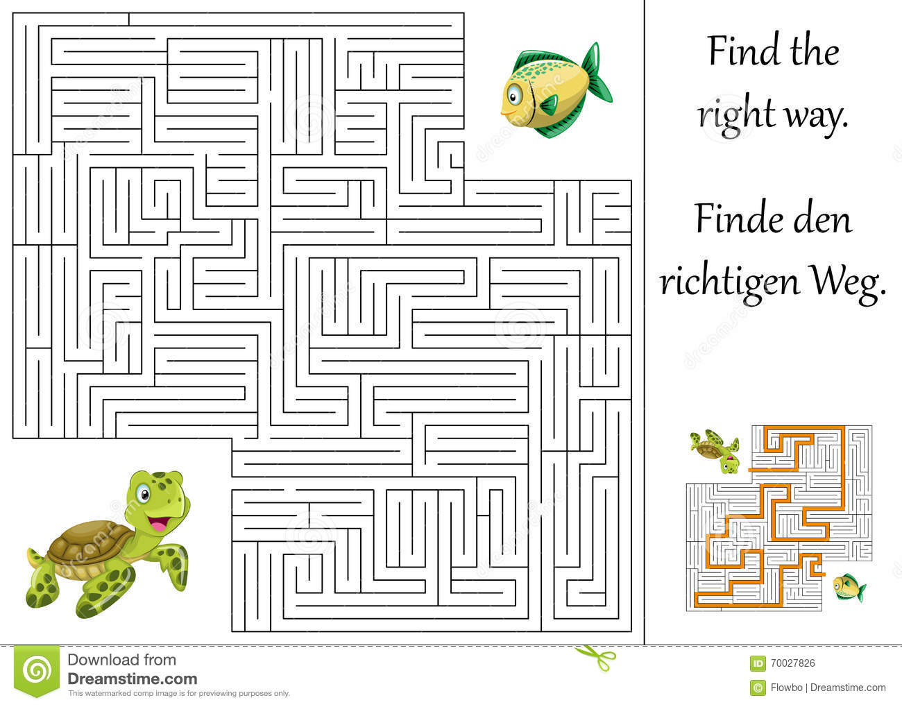 Maze Or Labyrinth For Children With Turtle And Fish Stock