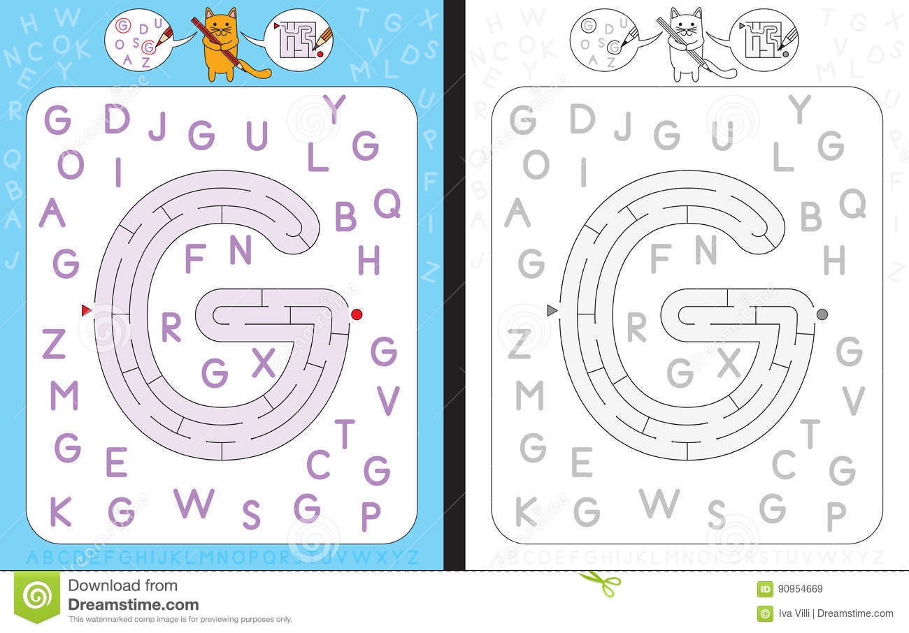 Maze Letter G Stock Vector Illustration Of Writing