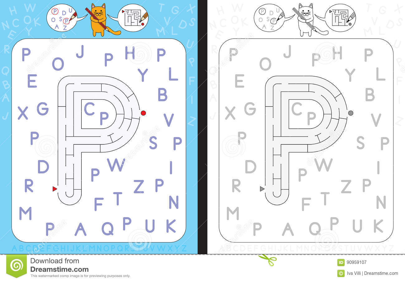 Maze Letter P Stock Vector Illustration Of Language