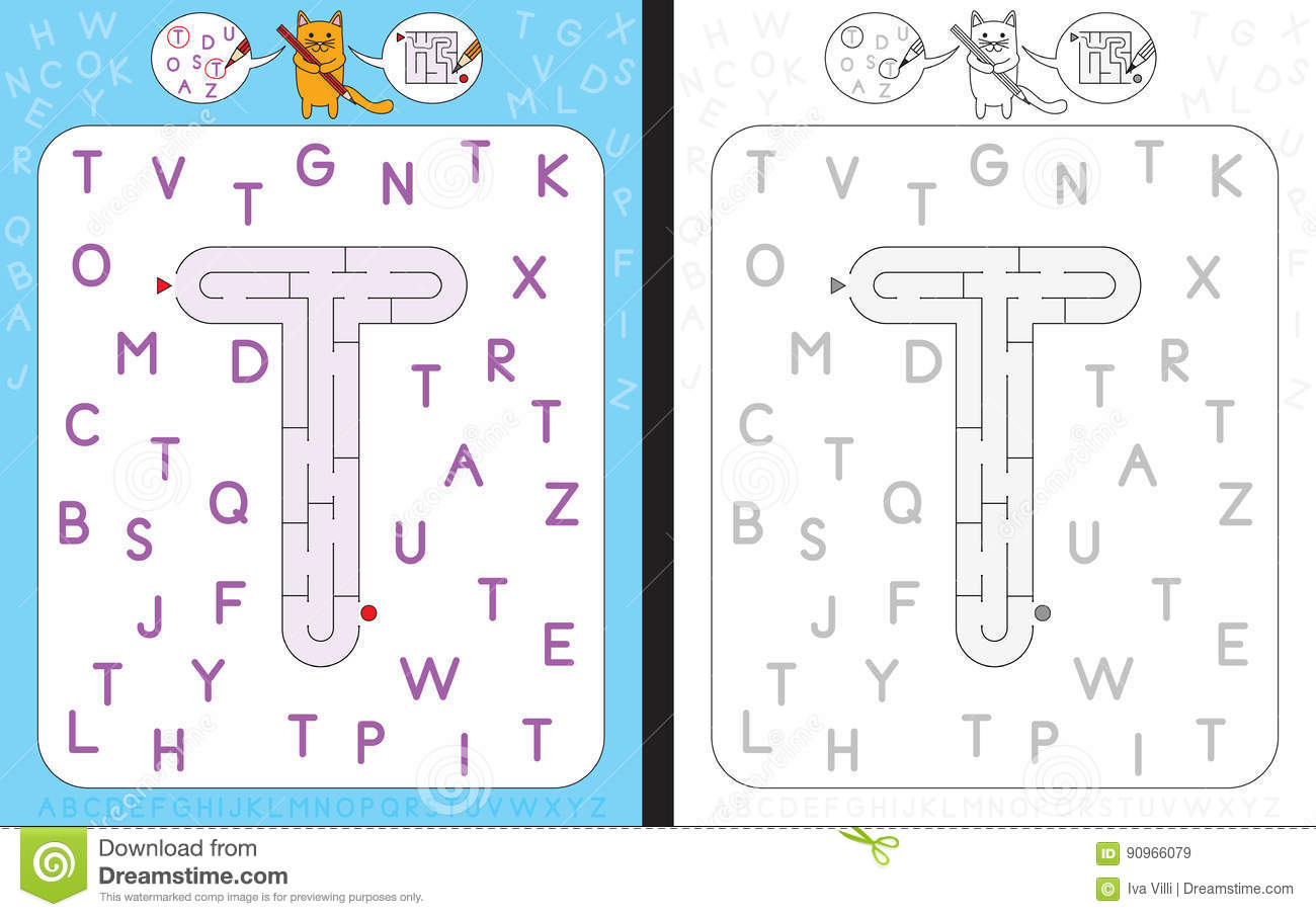 Maze Letter T Stock Vector Illustration Of Preschool