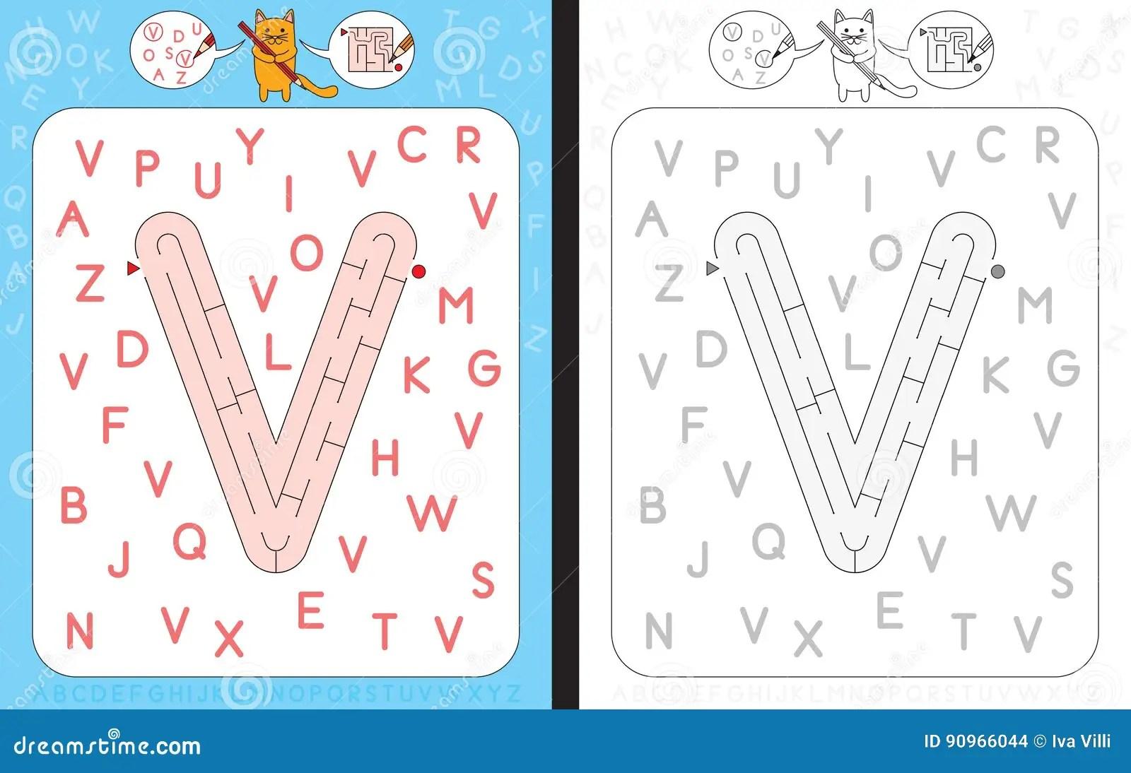 Maze Letter V Stock Vector Illustration Of Learning