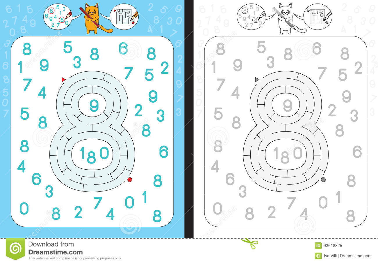 Maze Number 8 Stock Vector Illustration Of White