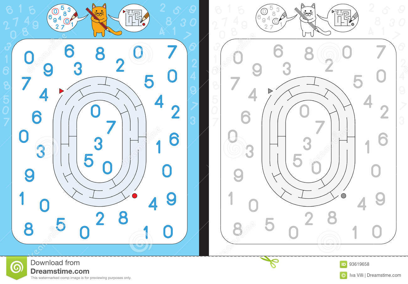 Maze Number 0 Stock Vector Illustration Of Cartoon