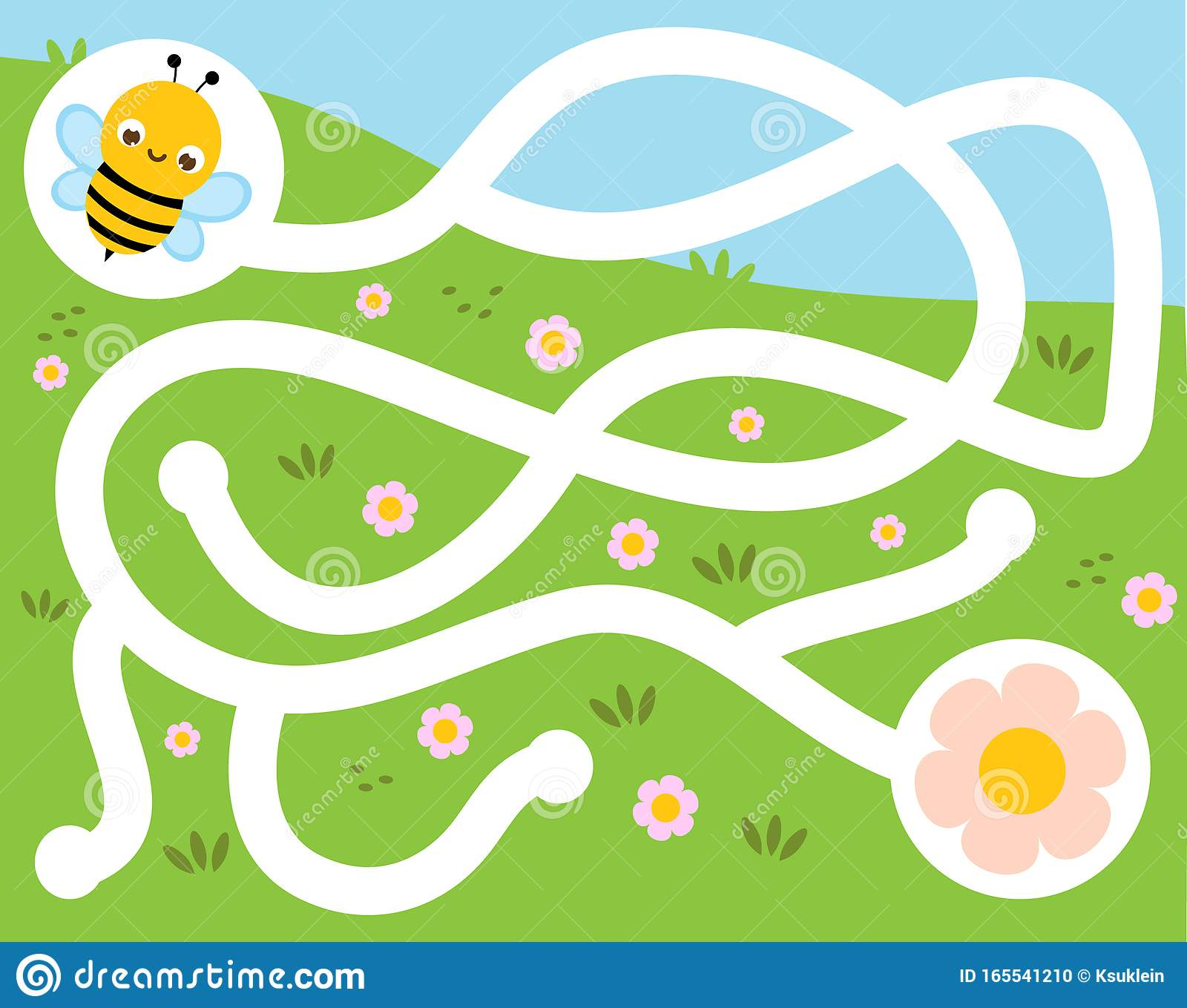 Maze Puzzle Help Bee Find Flower Activity For And Kids