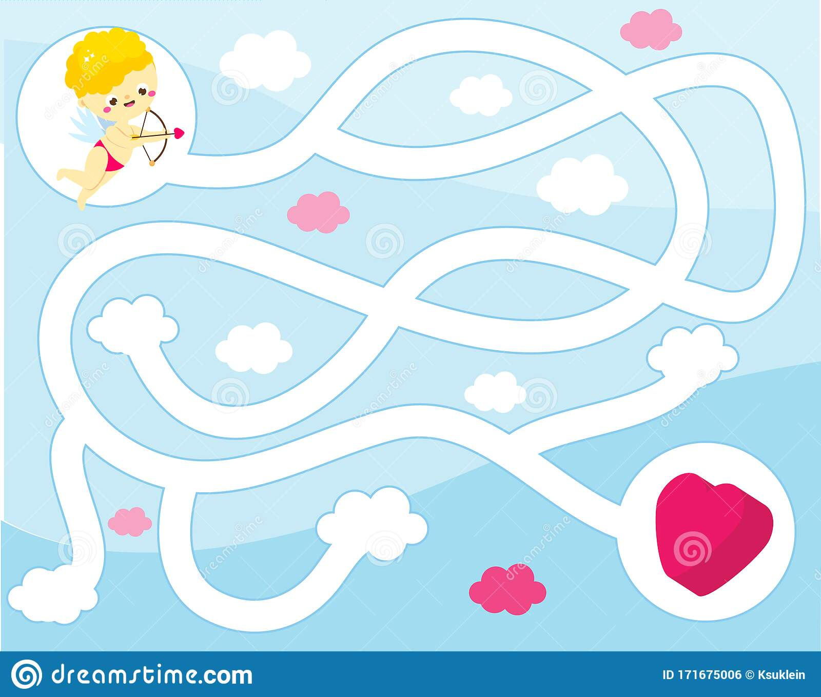 Maze Puzzle Help Cupid Find Heart Activity For And Kids