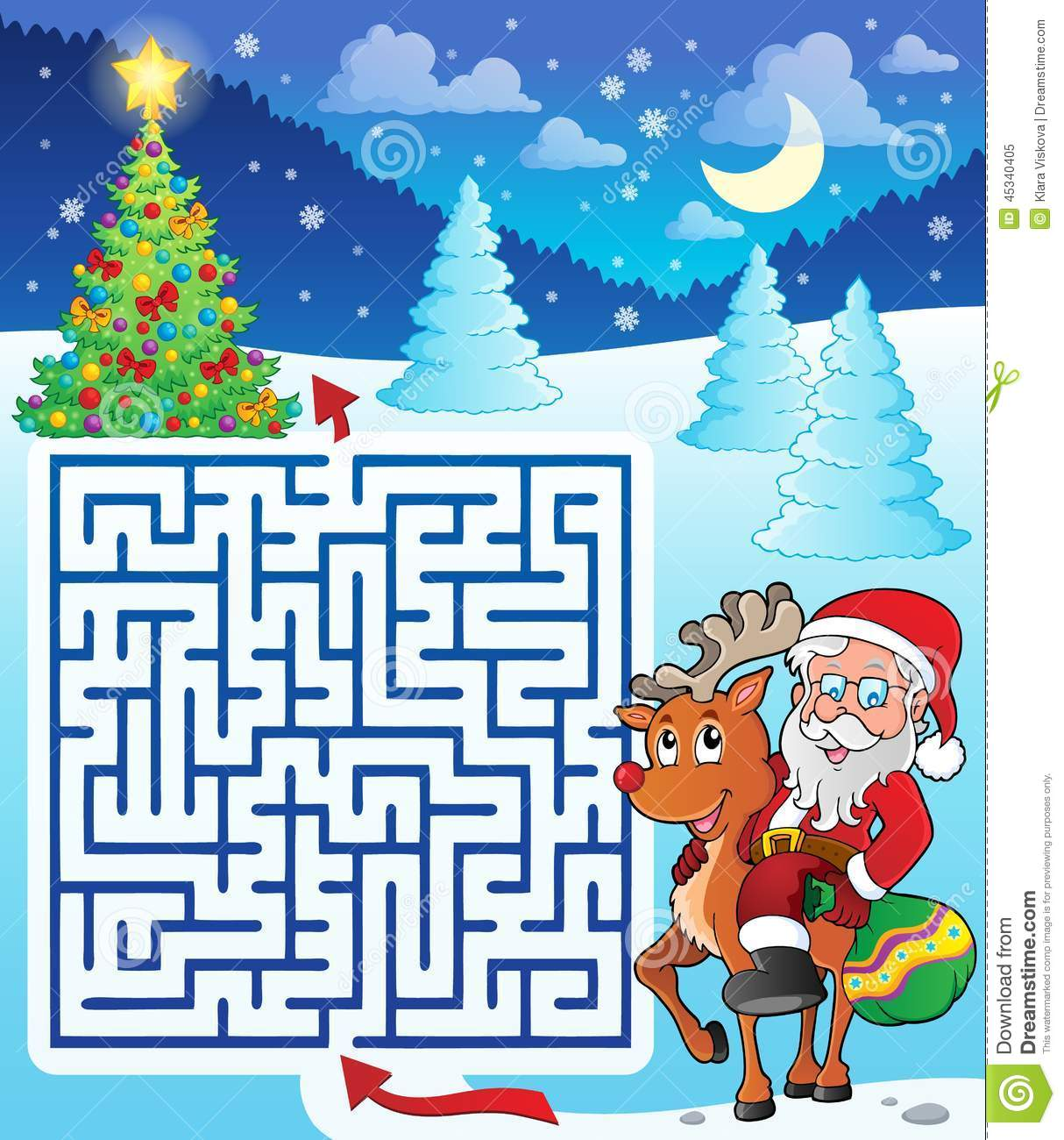 Maze 3 With Santa Claus And Deer Stock Vector