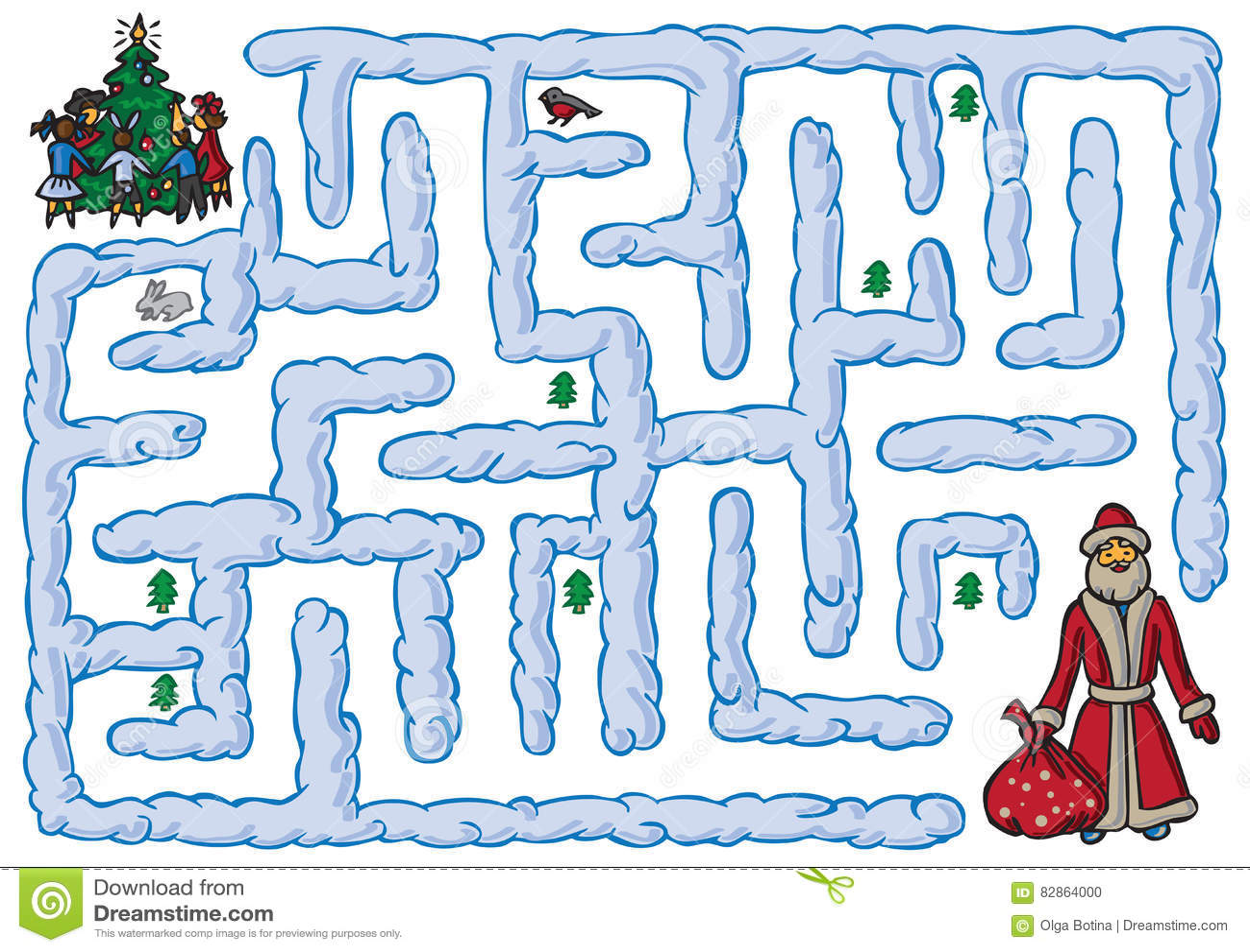 Maze Santa Claus And New Year Stock Vector