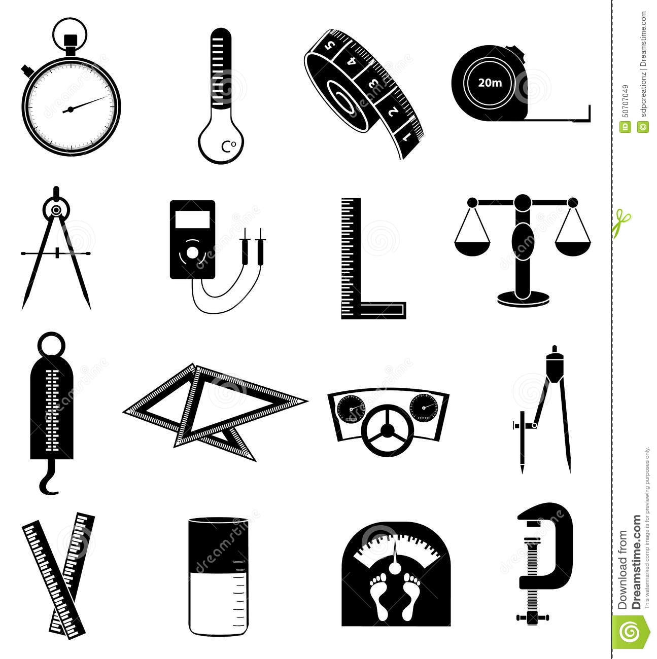 Measurement Icons Set Stock Vector Image Of Ruler