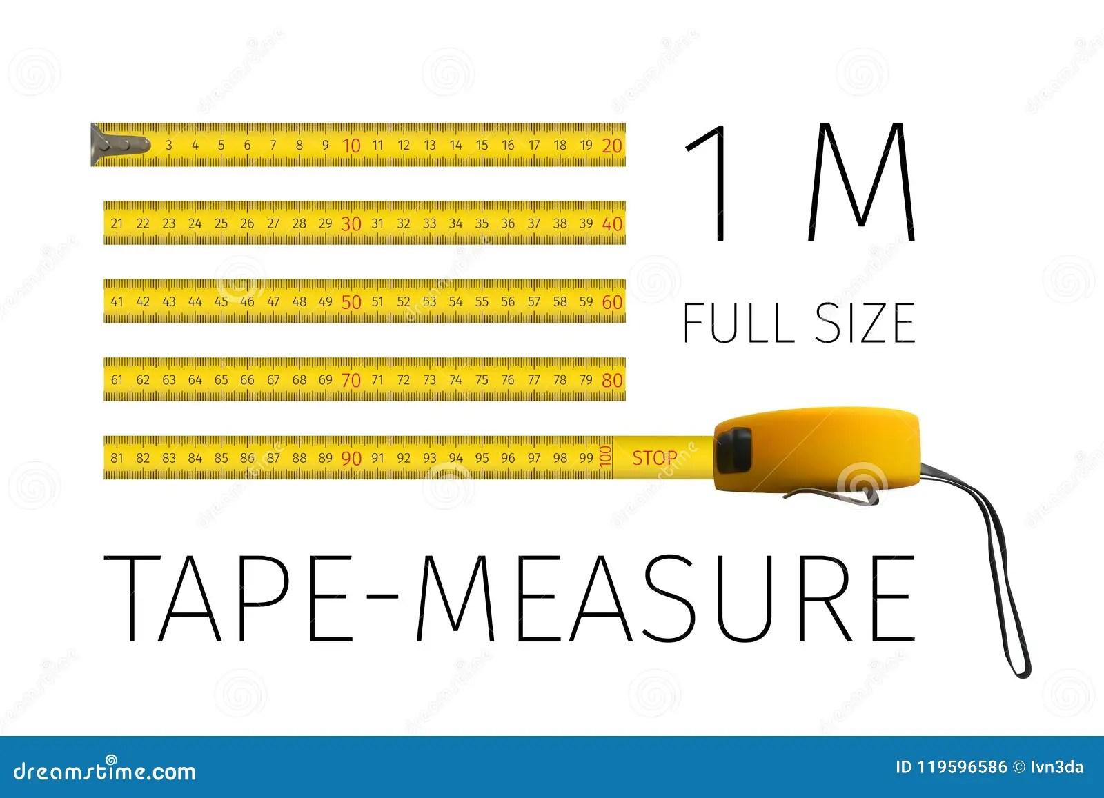 Tape Measure Yellow Yardstick 1 Meter In Full Size Stock