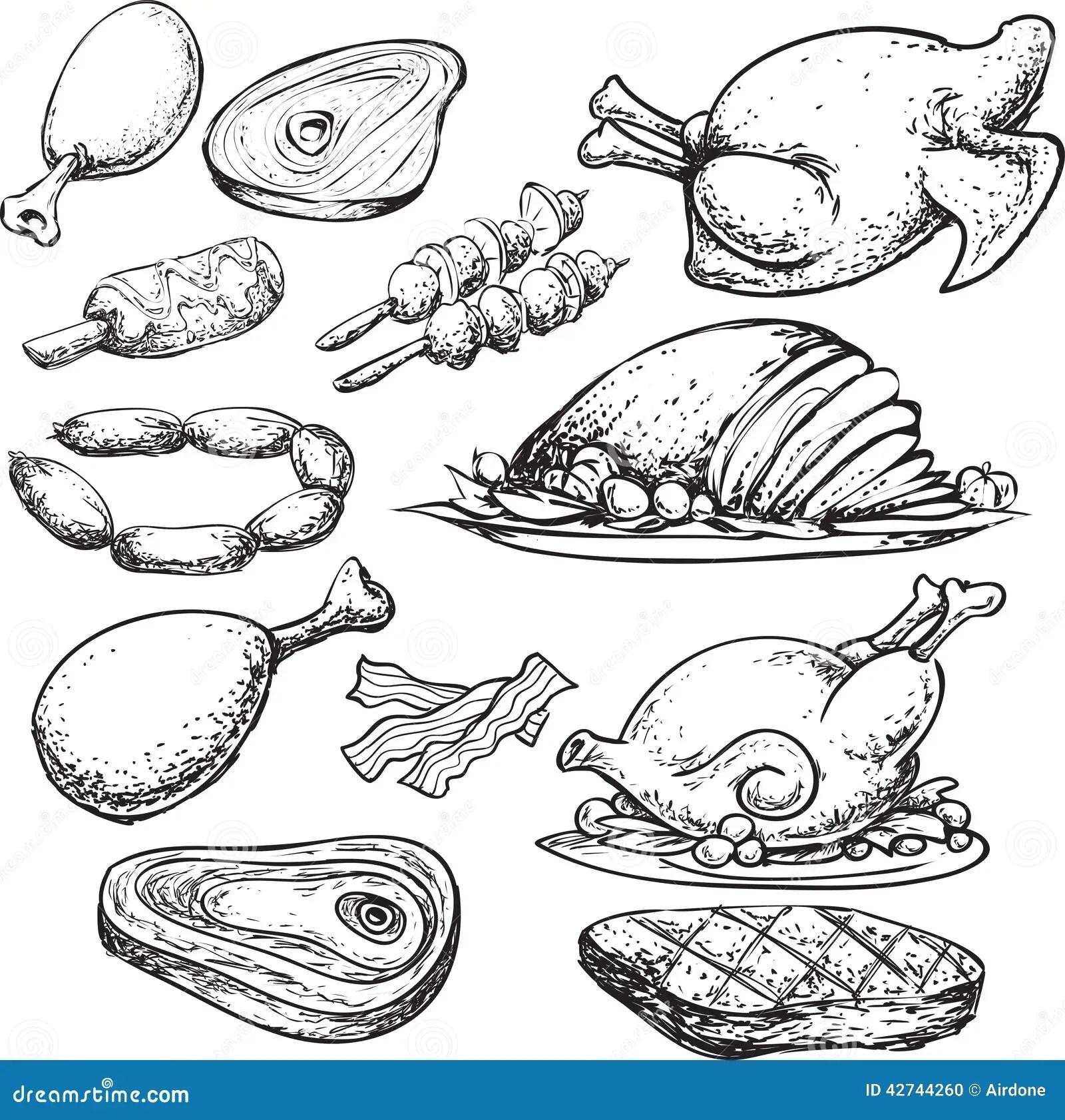 Meat Doodle Stock Illustration Illustration Of