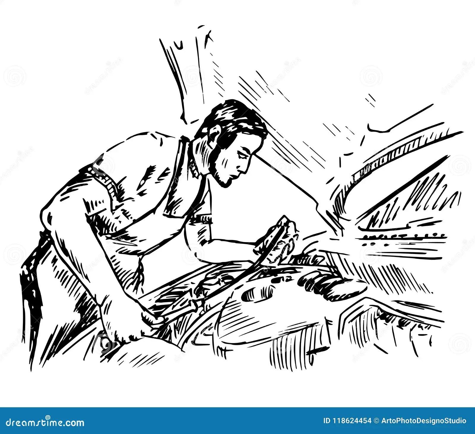 Check Motor Oil Level Vector Illustration Cartoon Vector