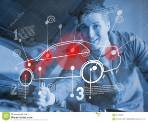 Mechanic Reparing Car While Consulting Futuristic Interface Royalty Free Stock Image  Image