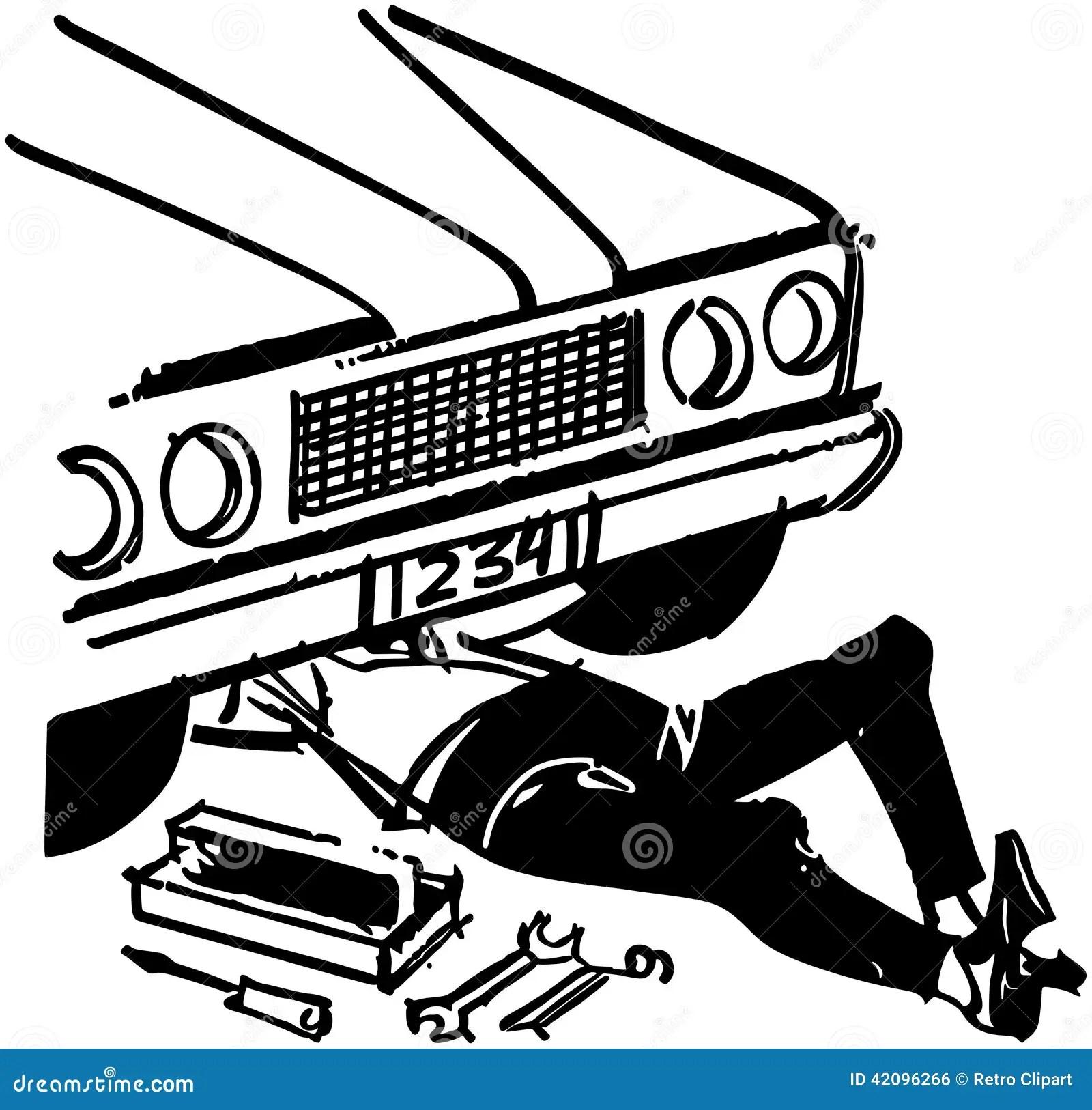 Mechanic Under Car Stock Vector Illustration Of Clipart