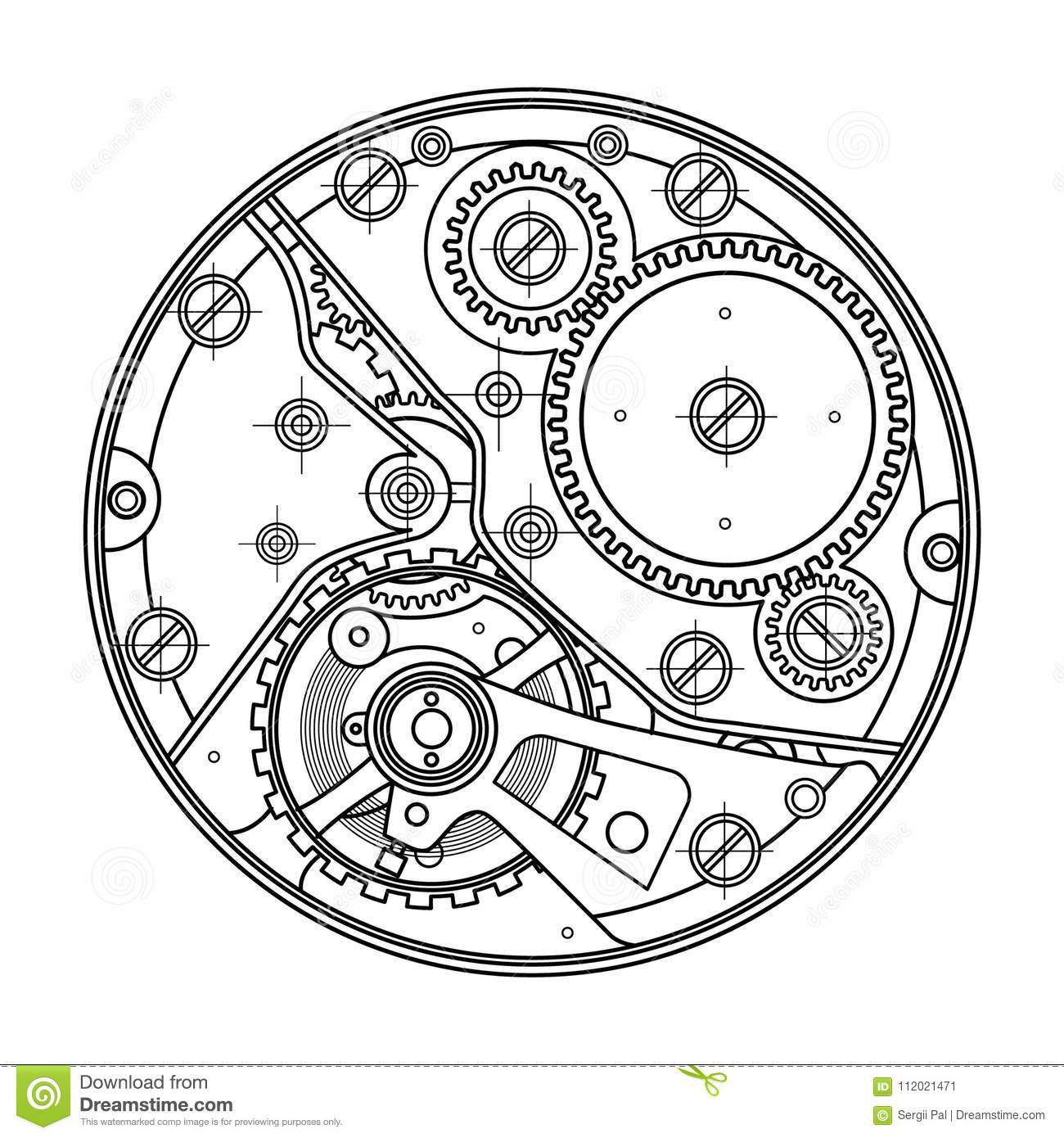 Mechanical Watches With Gears Drawing Of The Internal