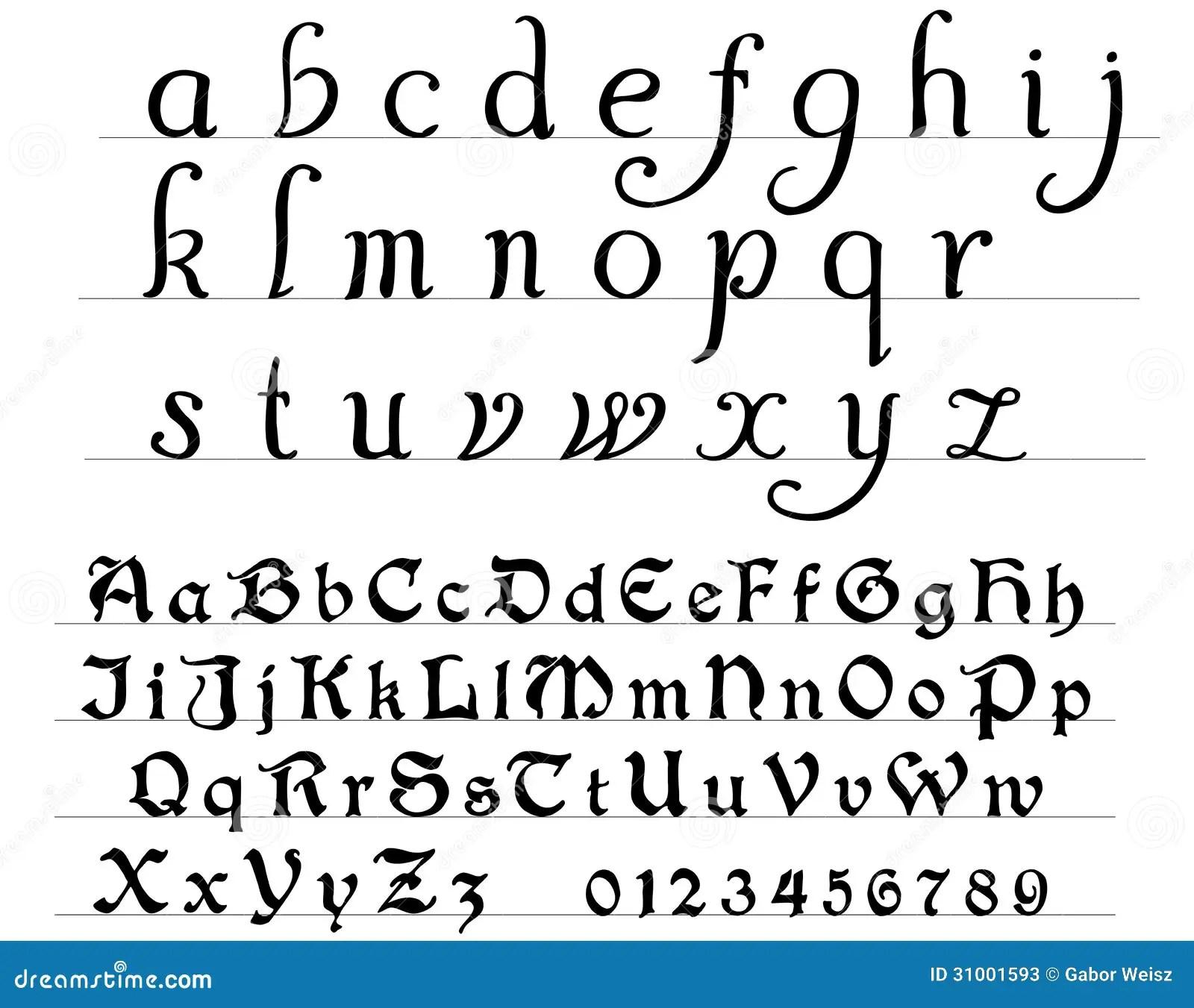 Medeltida Alfabet Vektor Illustrationer Illustration Av