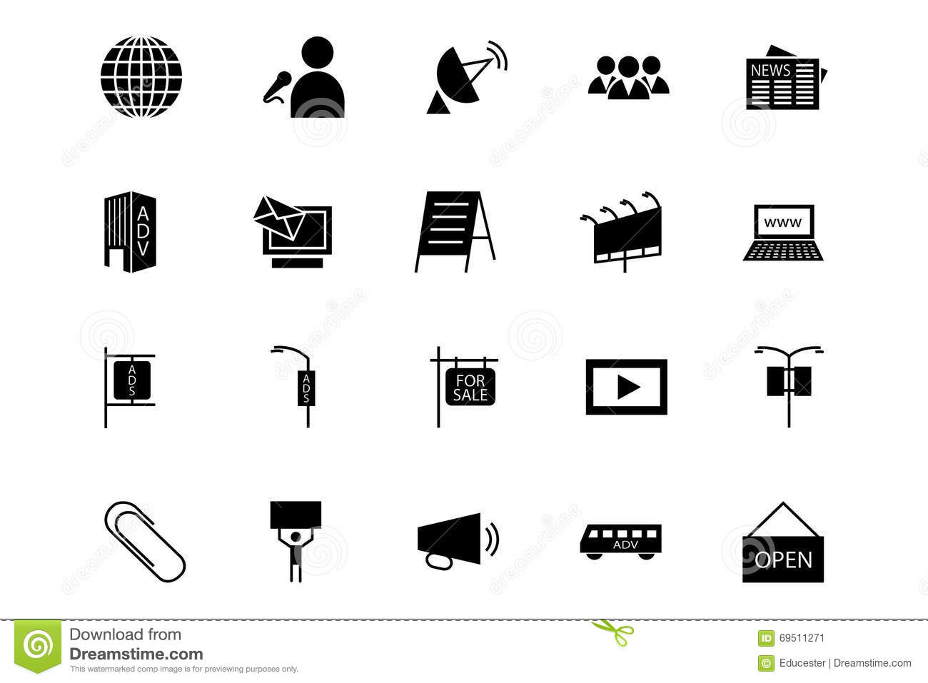 Media And Advertisement Vector Icons 3 Stock Illustration