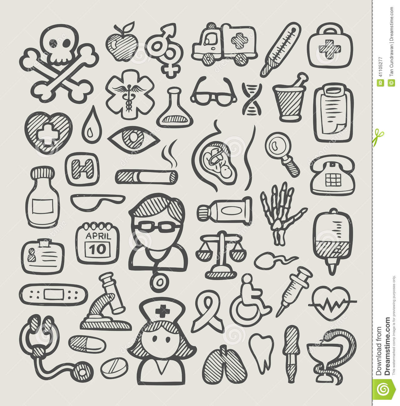 Medical Icons Sketch Stock Vector Illustration Of Heart
