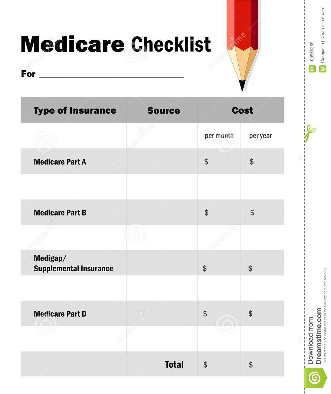 Medicare Checklist Worksheet Fill In The Blanks Red