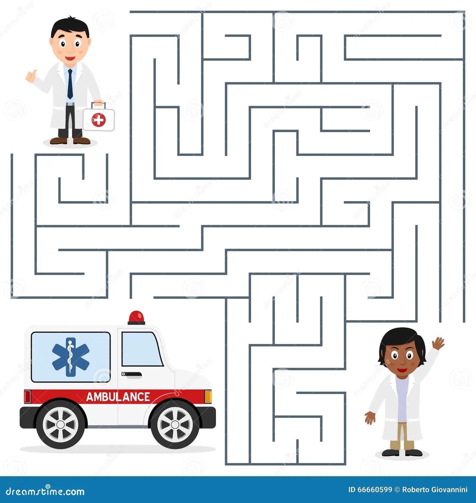 Medici E Labirinto Dell Ambulanza Per I Bambini