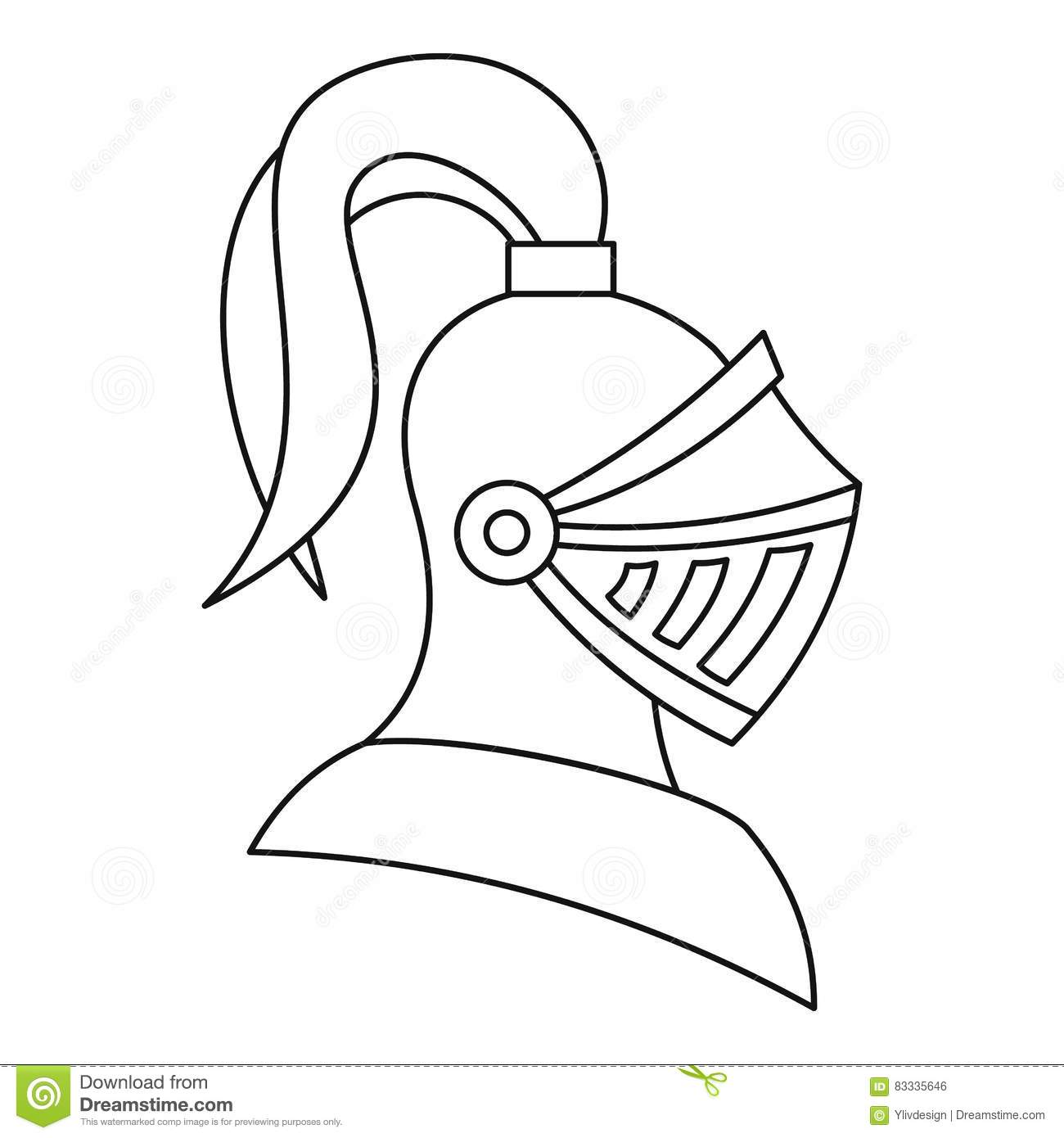 Me Val Knight Helmet Icon Outline Style Stock Vector