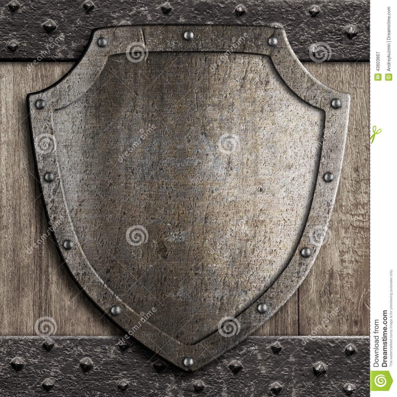 Medieval Shield On Wooden Gate Stock Photo Image 43603667
