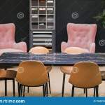 Meeting Room In The Office With Pink Armchairs Yellow Chairs A Black Marble Table Modern Luxury Design Interior Stock Image Image Of Decoration Interior 156031675