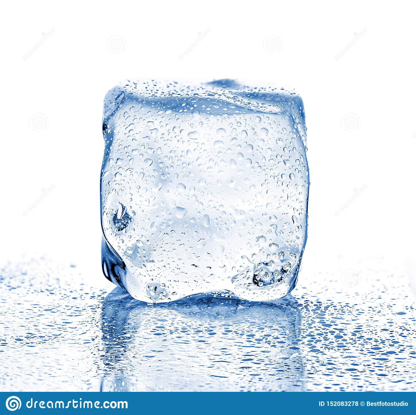 Melting Ice Cube Close Up On A White Background Stock