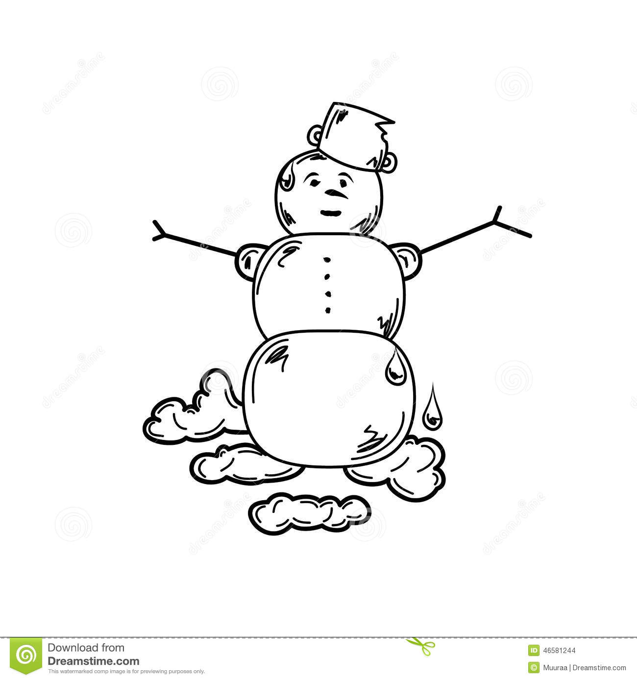 Melting Snowman Stock Vector Illustration Of Happy Cold