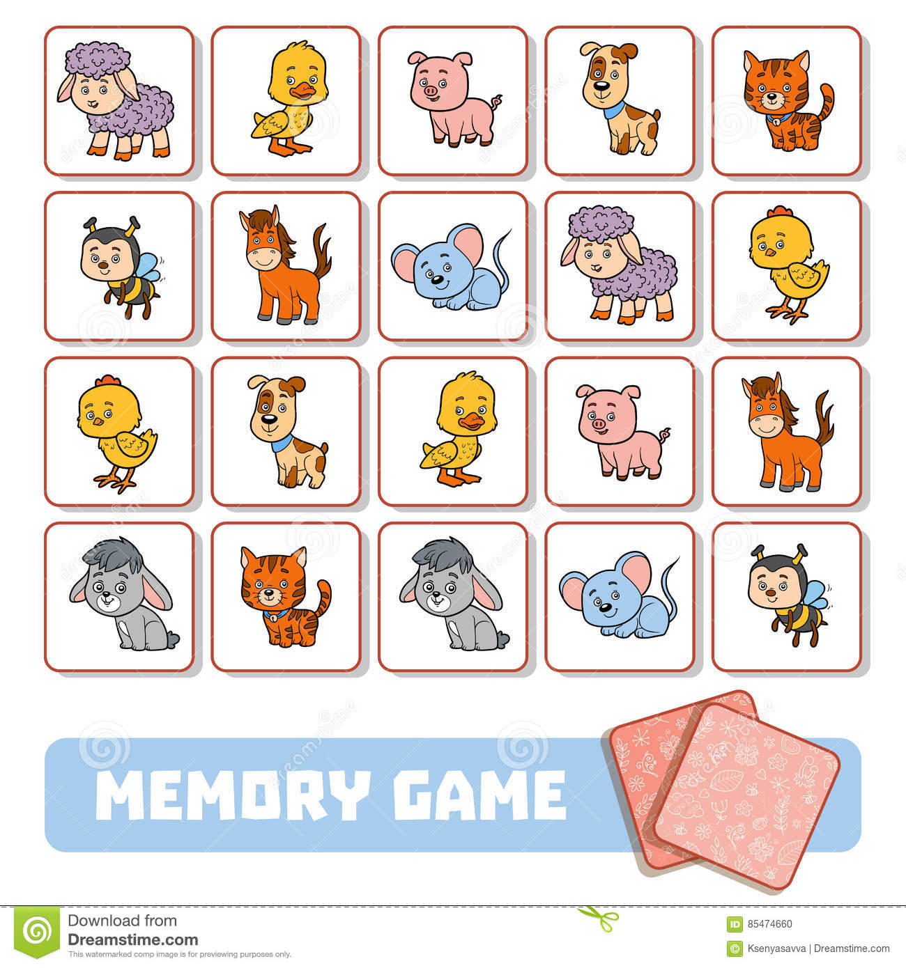 Memory Game For Children Cards With Farm Animals Vector Illustration