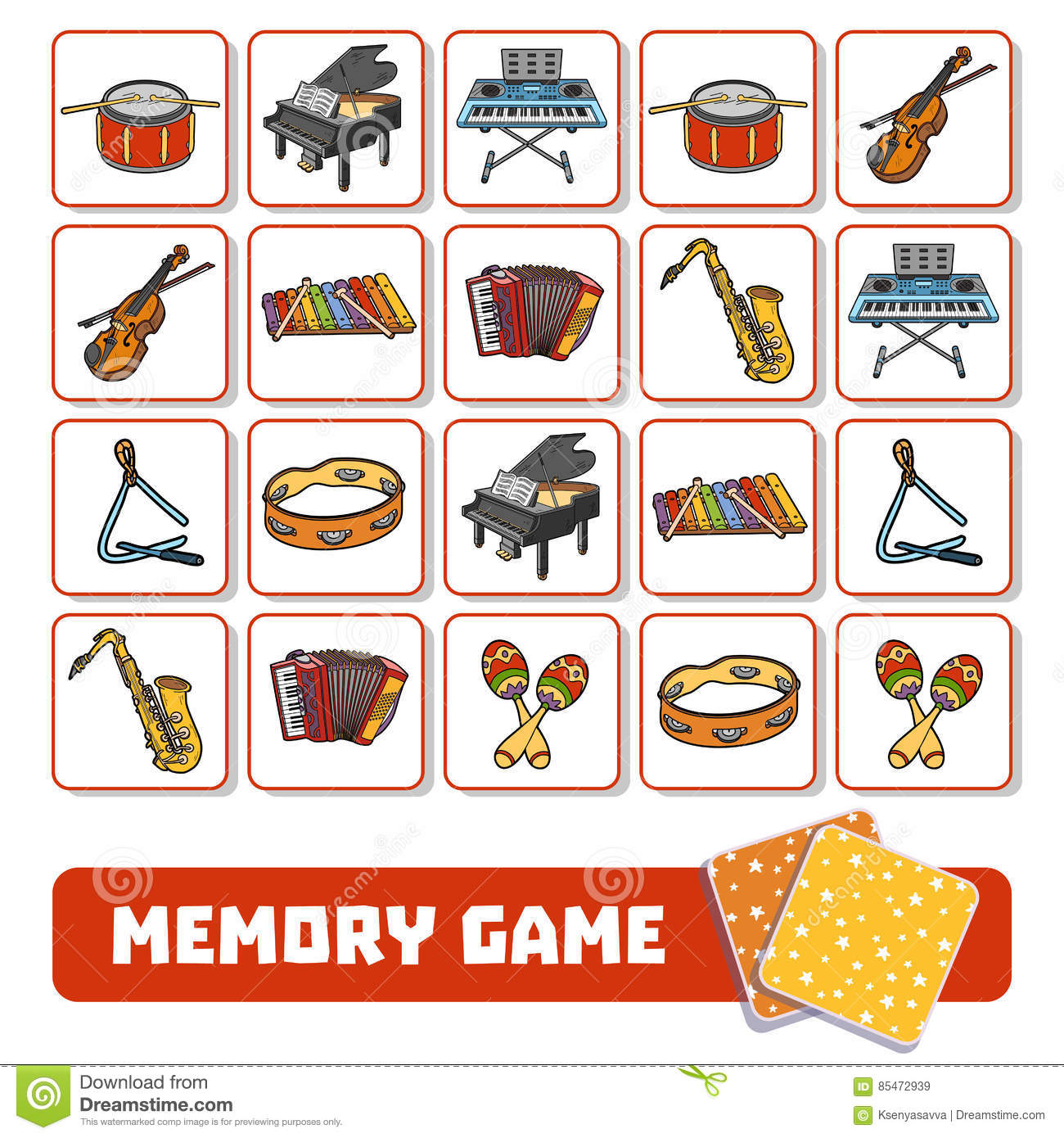 Memory Game For Children Cards With Musical Instruments Stock Vector
