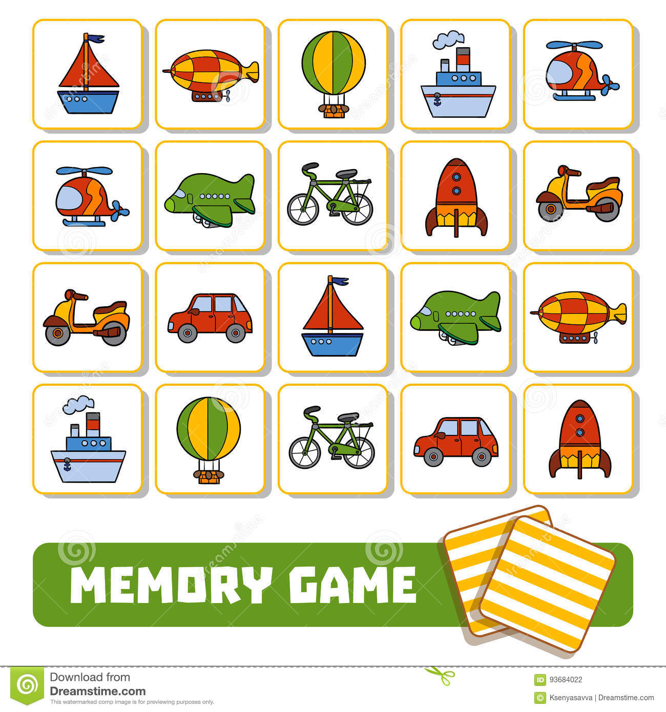 Memory Game For Children Cards With Transport Objects