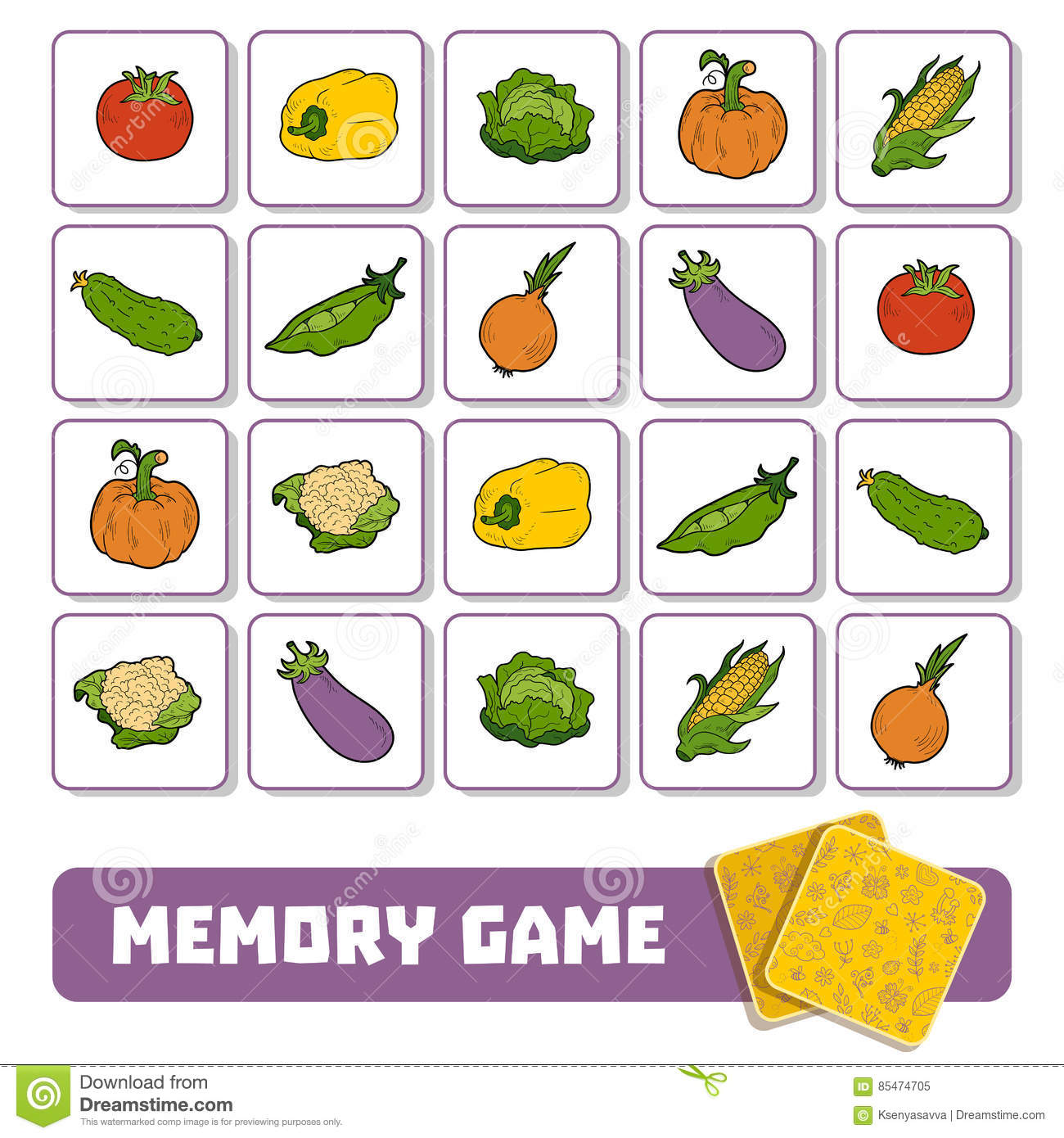 Memory Game For Children Cards With Vegetables Stock