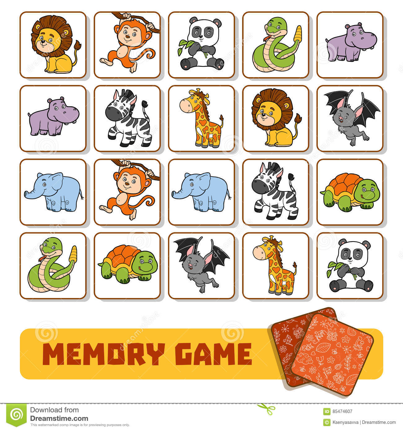 Memory Game For Children Cards With Zoo Animals Stock