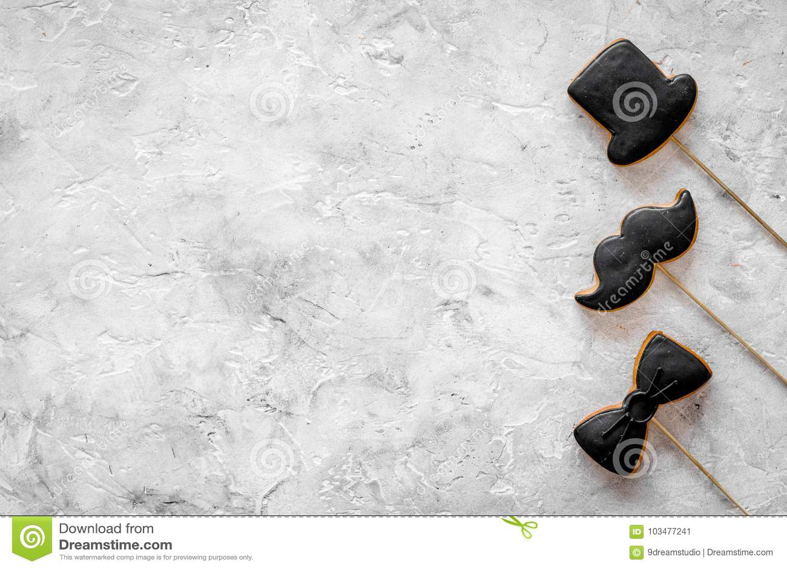 https www dreamstime com men birthday concept set cookies shape black tie mustache hat grey stone background top view copyspace men birthday image103477241