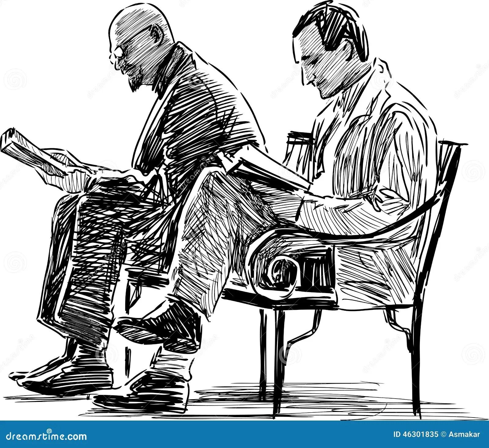 Men Reading Stock Vector Illustration Of Drawn Hand