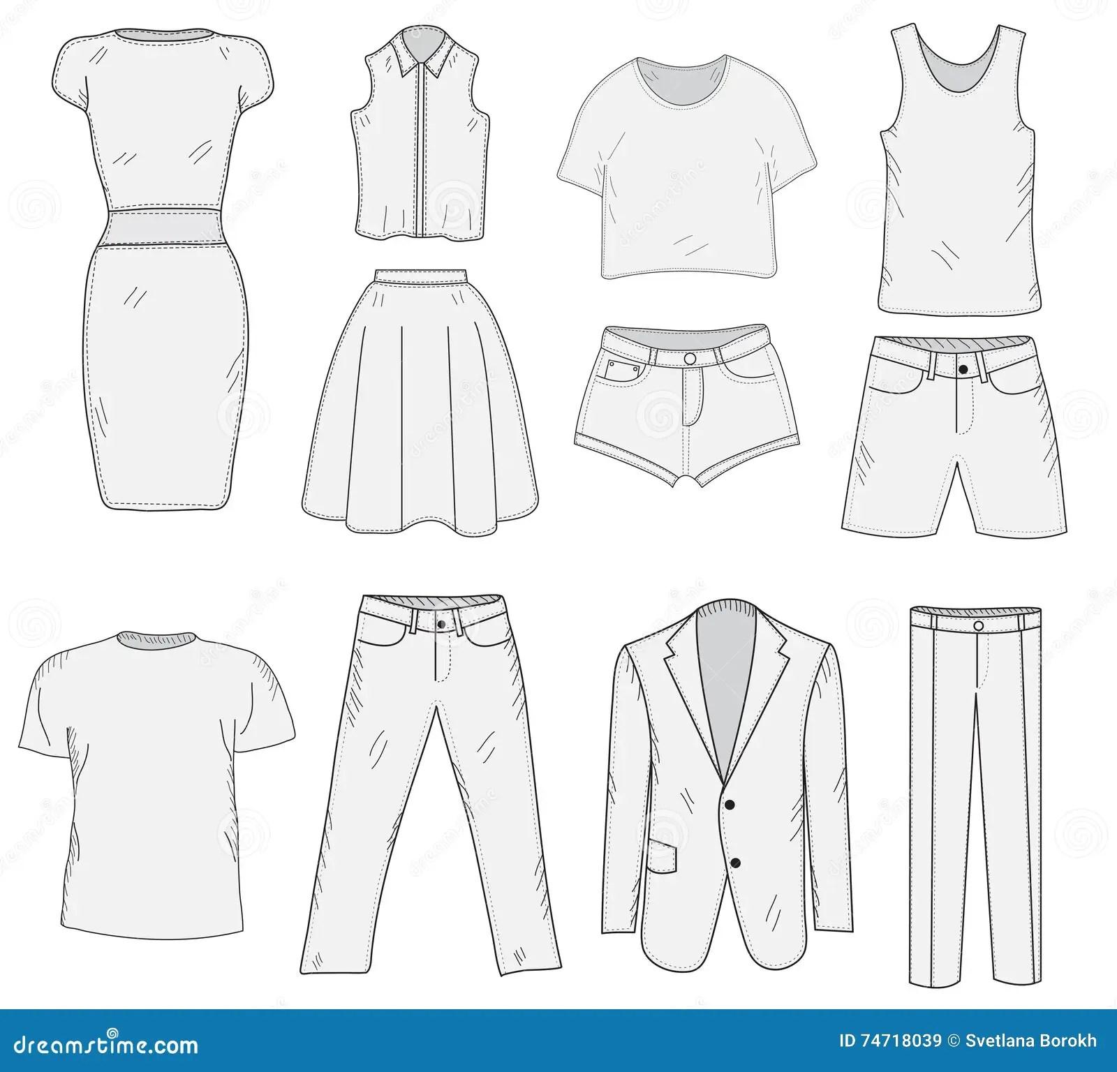 Men Amp X27 S Und Women Amp X27 Gesetzte Skizze S Kleidungs