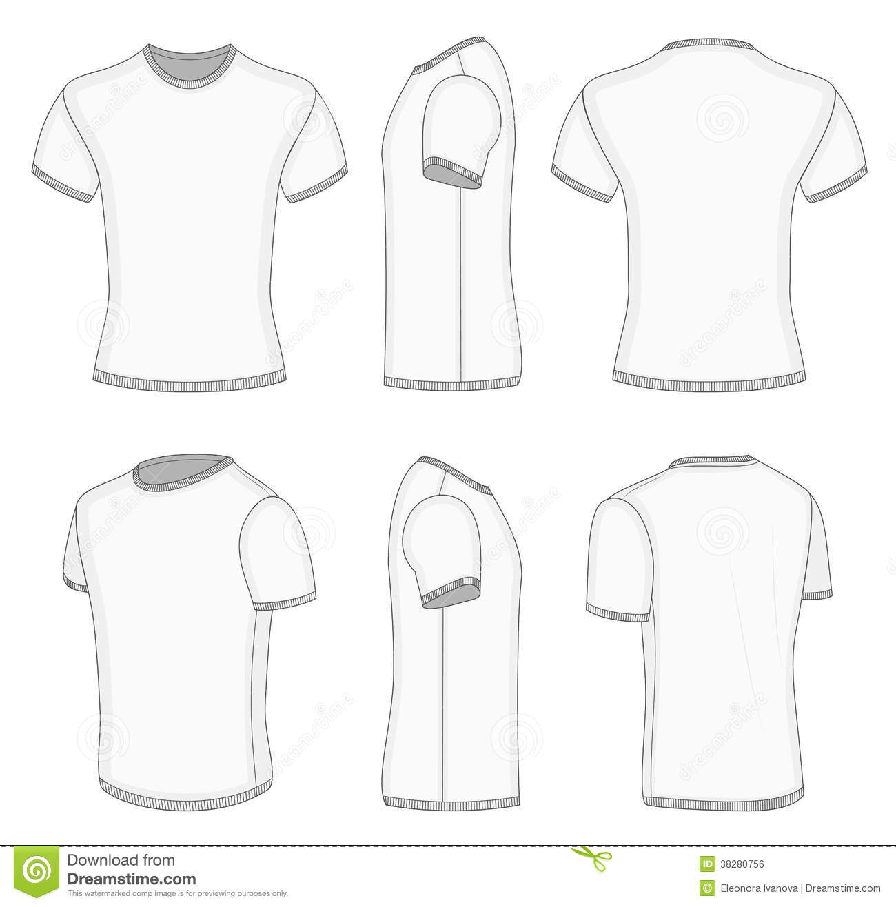 Men S White Short Sleeve T Shirt Stock Vector