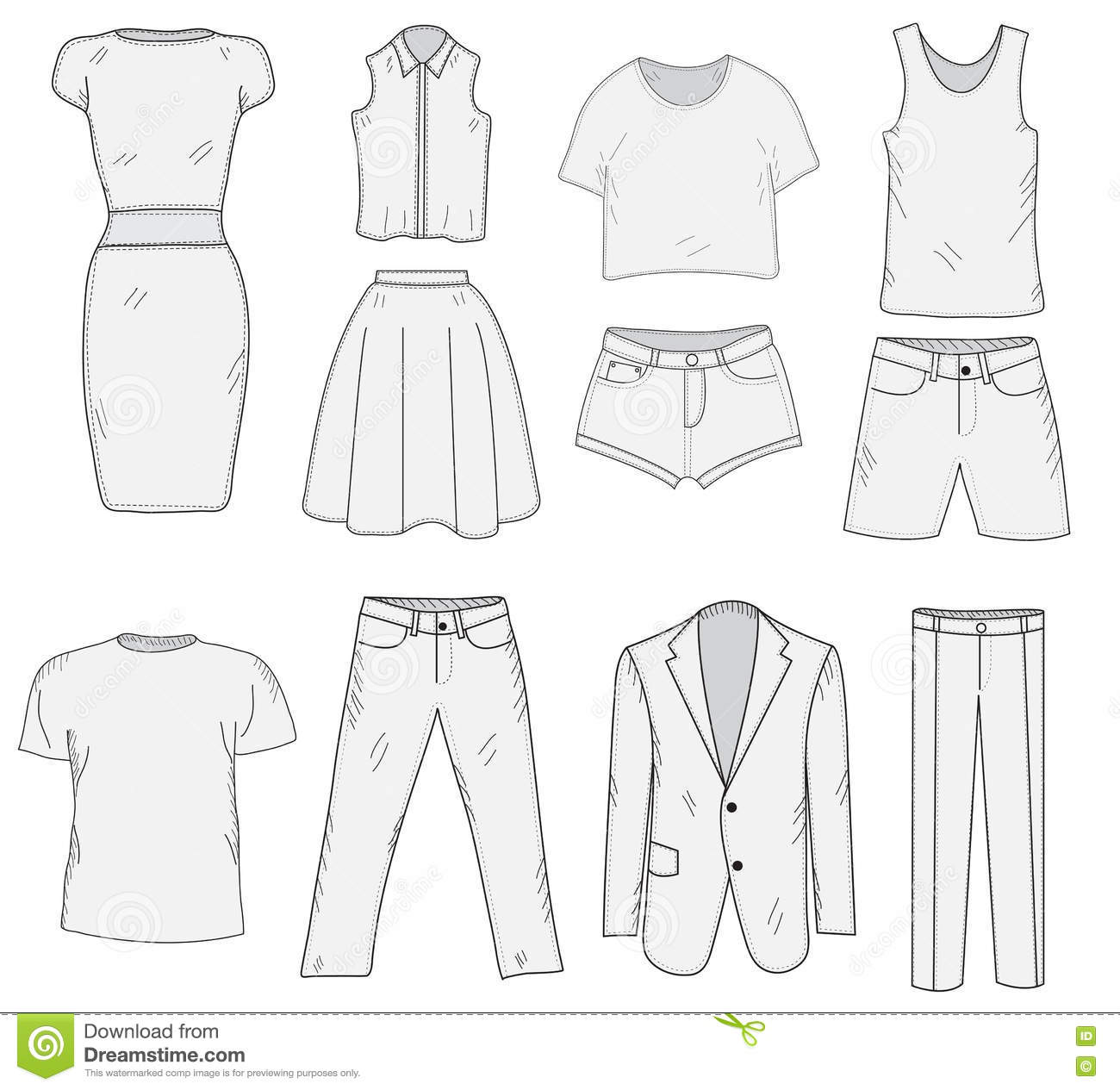 Men S And Women S Clothing Set Sketch Clothes Hand