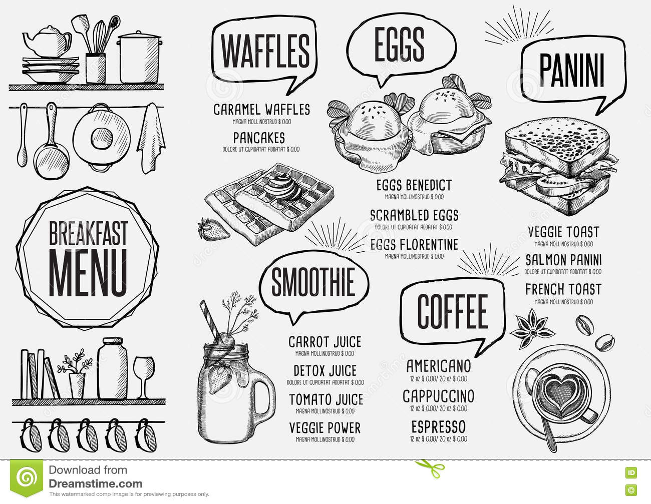 Menu Breakfast Restaurant Food Template Placemat Stock