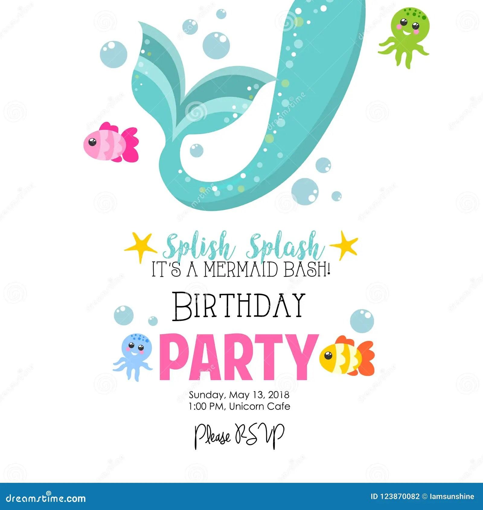 https www dreamstime com mermaid birthday party mermaid birthday party invitation party invite cute cartoon mermaid under sea image123870082