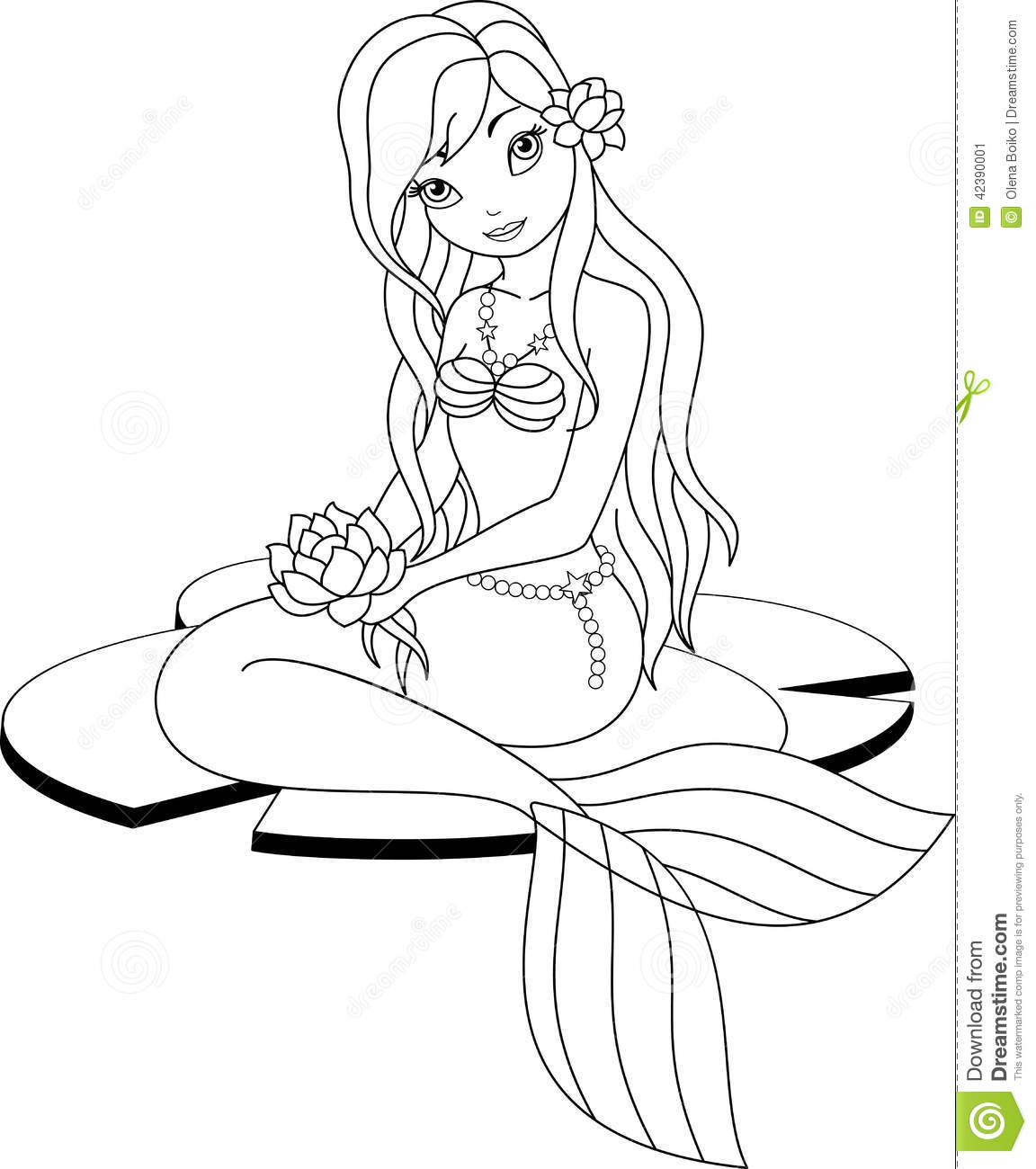 Mermaid Coloring Page Stock Vector Illustration Of Lotus