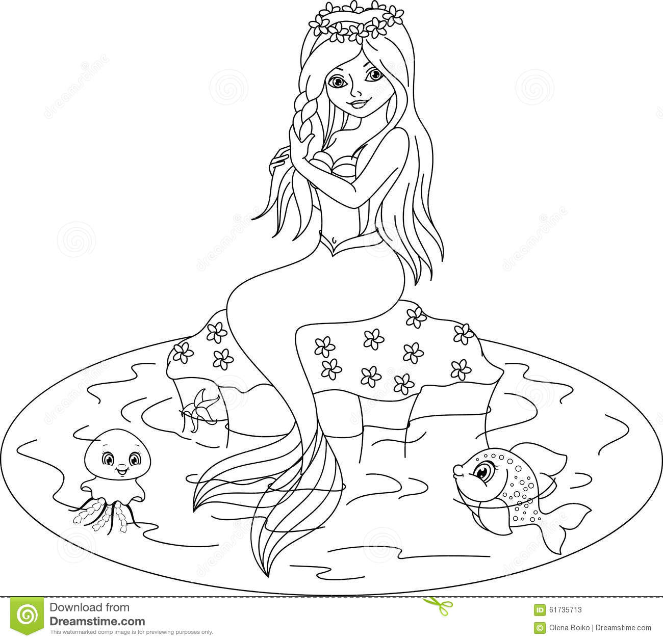 mermaid coloring page stock vector image 61735713