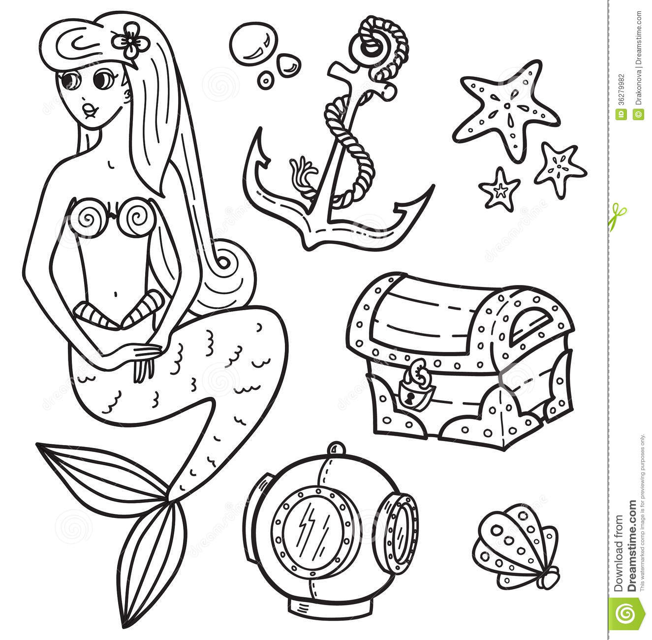 Mermaid And Other Underwater Objects Stock Vector