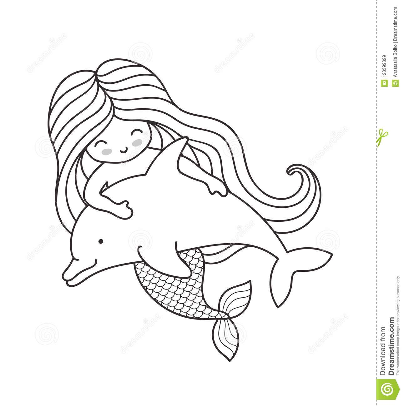 Mermaid Swimming With Cute Dolphin Stock Vector