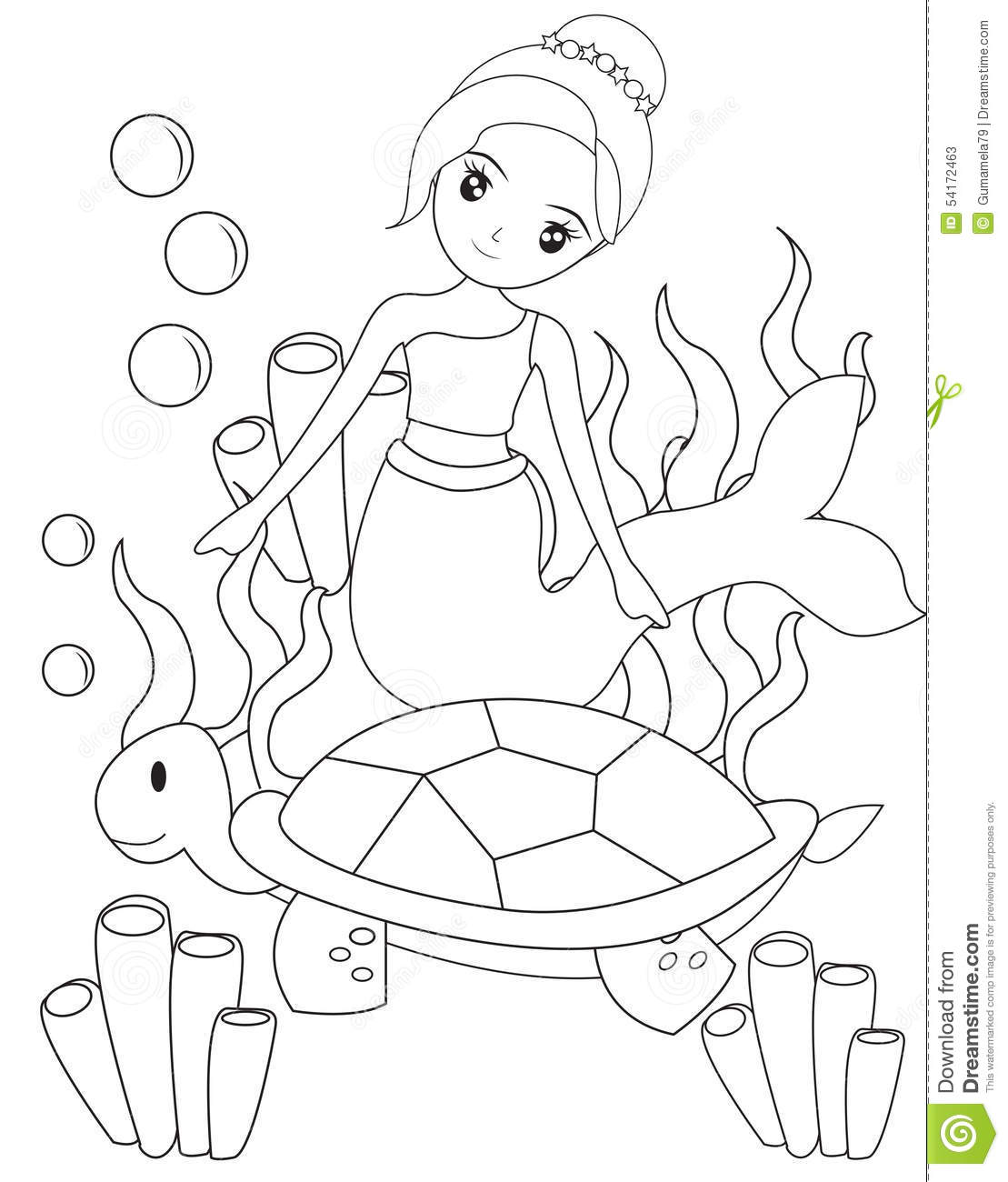 The Mermaid And The Turtle Coloring Page Stock